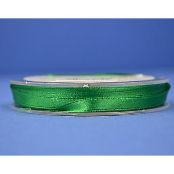 10m Christmas Green 7mm Wide Polyester Satin Craft Ribbon