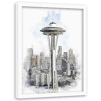 Picture In Black Frame, Space Needle In Seattle