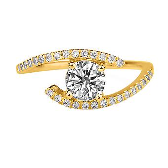 0.75 CTW 5.50MM Moissanite Forever One Engagement Ring with Diamonds 14K Yellow Gold Pave Twist