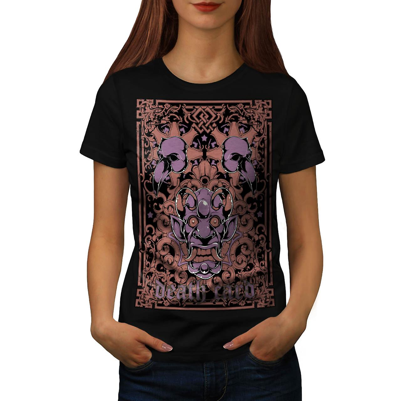 Devil Death Card Bird Gambling Women Black T-shirt | Wellcoda