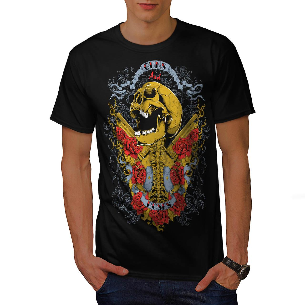 Guns And Roses Skull Music Hero Men Black T-shirt | Wellcoda