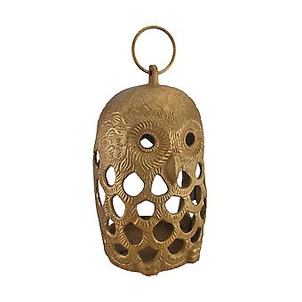 Golden Filigree Owl Cast Aluminum Decorative Candle Lantern