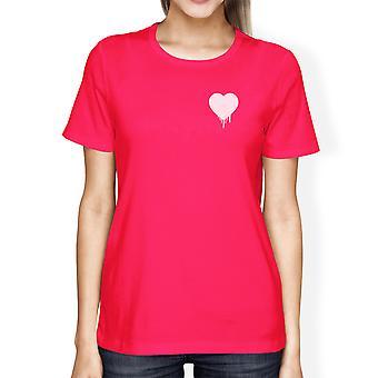 Melting Heart Women's Hot Pink T-shirt Cute Heart-Shaped Crew-Neck