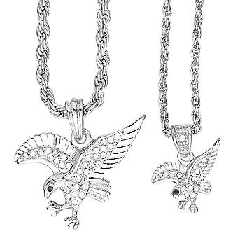 Iced out bling mini chain pendant set - 2 x Eagle Silver