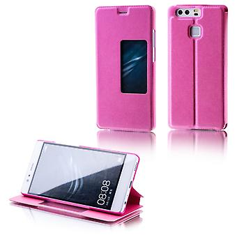 Booktasche window Pink for Huawei P9 pouch case cover pouch wake UP