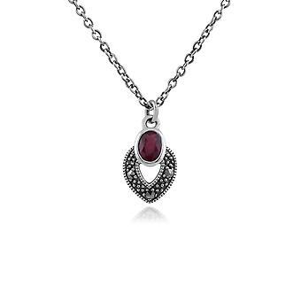 Gemondo Sterling Silber Art Deco Ruby & Markasit Halskette