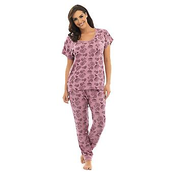 Ladies Wolf & Harte Floral Print Polycotton Long Pyjama pajama Lounge Wear