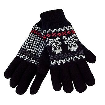 Boys Knitted Skull Design Thermal Lined Warm Winter High Cuff Glove