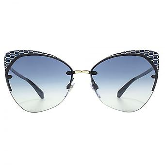 Bvlgari Serpenteyes Rimless Cateye Sunglasses In Blue Pale Gold