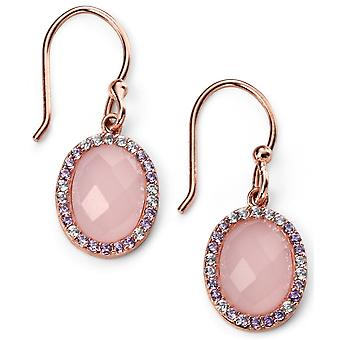 925 Silver Rose Gold Plated Oval And Rose Quartz, Zirconium Earring