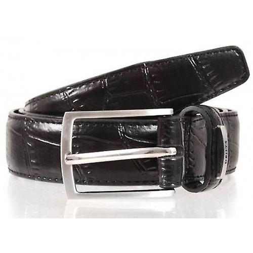 Dents Crocodile Effect Leather Belt - Black