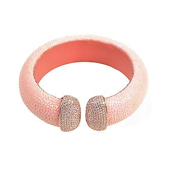 925 Sterling Zilver manchet Stingray Rosegold roze met CZ verklaring Bangle