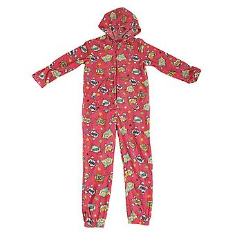 Selena Girl Childrens Comic Sound Effect Design Fleece Hooded Pyjama Onesie