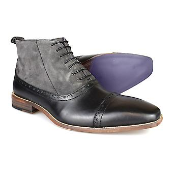 Gucinari Luciano Black & Grey Leather Formal Brogue Boots D273-4