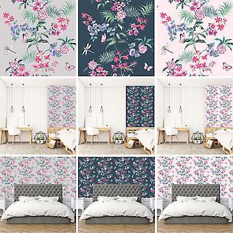 Carmen Wallpaper Tropical Exotic Flowers Floral Butterflies Dragonflies Crown