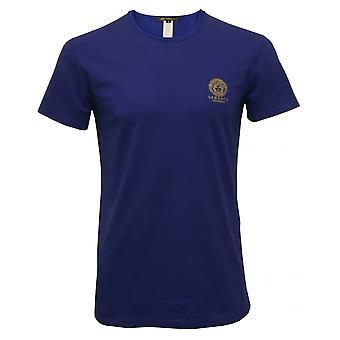 Versace Iconic Crew-Neck Stretch Cotton T-Shirt, Blue