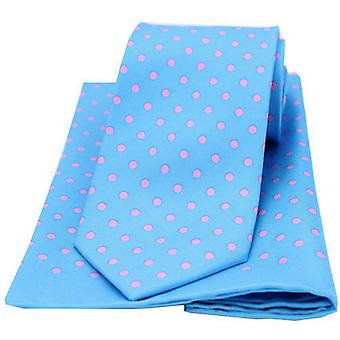 David Van Hagen Polka Dot correspondant à cravate et mouchoir de poche Set - bleu/rose