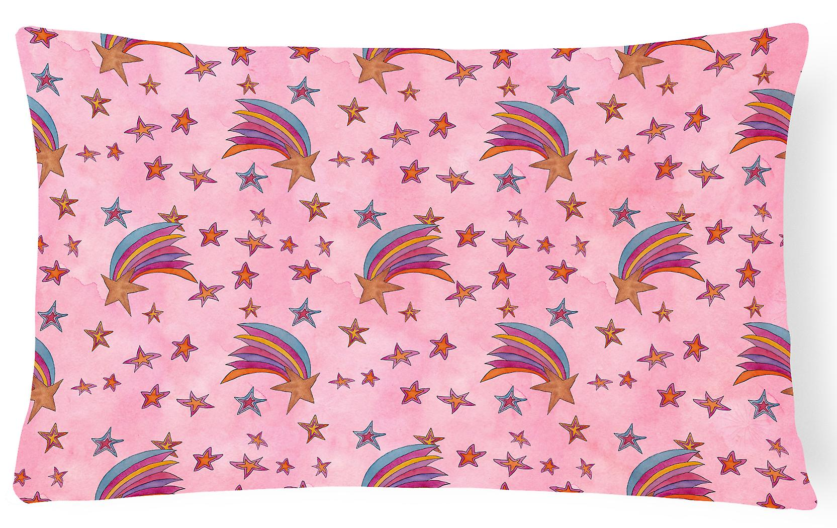 Fabric On Pillow Stars Watercolor Decorative Canvas Shooting Pink UpVSzqM