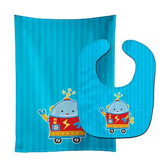 Carolines Treasures  BB9084STBU Robot #2 Baby Bib & Burp Cloth