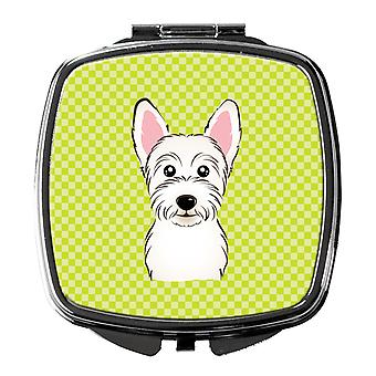 Carolines Treasures  BB1288SCM Checkerboard Lime Green Westie Compact Mirror