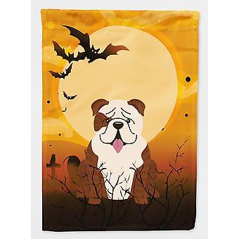 Halloween English Bulldog Brindle White Flag Canvas House Size