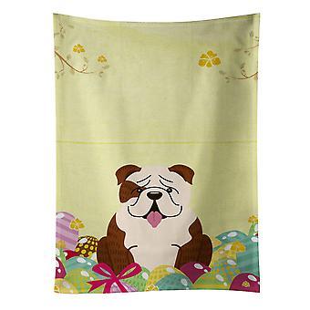 Easter Eggs English Bulldog Brindle White Kitchen Towel