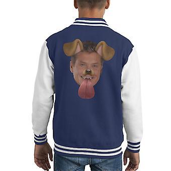 David Hasselhoff Dog Snapchat Filter Kid's Varsity Jacket