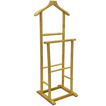 Jeeves - Solid Wood Double Clothes Valet Stand / Hanging Rail - Natural