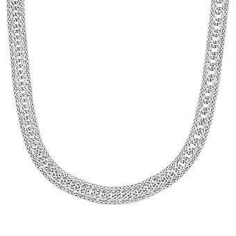 Fine Sterling Silver 925 Ladies Womens Double Curb Cuban Design Solid Chain Necklace Choker