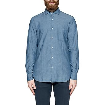 Aspesi mens CE52E54201031 Blau cotton shirt