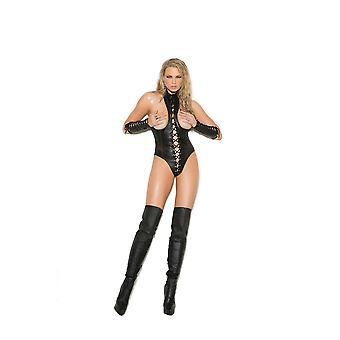 Elegant Moments EM-L2268X Leather cupless teddy with lace up front