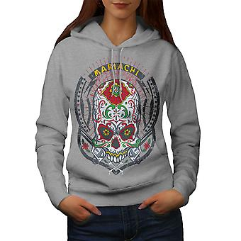 Face Skull Head Women GreyHoodie | Wellcoda