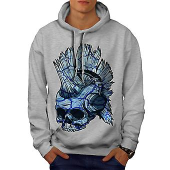 Punk Music Metal Skull Men GreyHoodie | Wellcoda