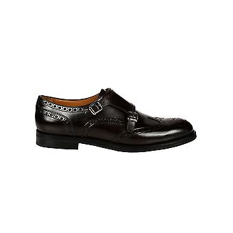 Church's women's A739609XVF0AMA1001 black leather lace-up shoes
