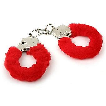 Red Fur Hen Party Love Cuffs - Metal Furry Handcuffs To Arrest The Bride To Be!