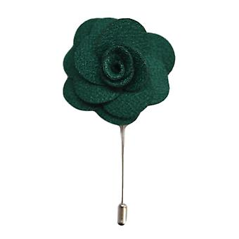Green Handmade Flower/Rose Lapel Pin for wearing with men's suit jacket, blazer, dinner jacket or tuxedo jacket
