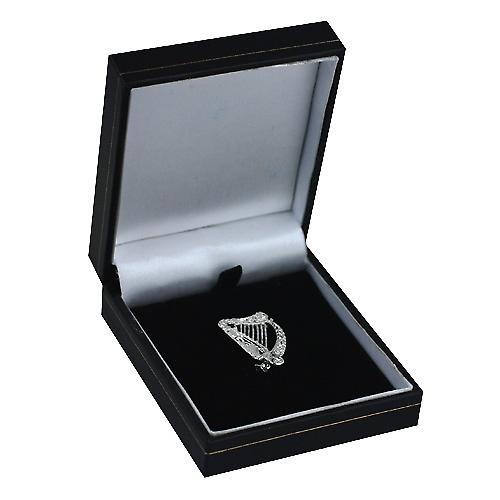 Silver 29x19mm Irish Harp Brooch