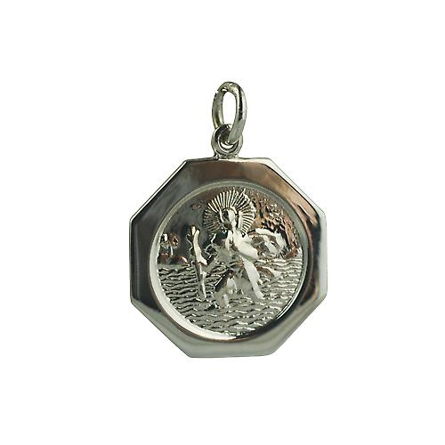 9ct White Gold 21x21mm plain hexagonal St Christopher Pendant