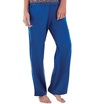 Guy de France 18026-181-097 Women's Blue Solid Colour Pajama Pyjama Pant