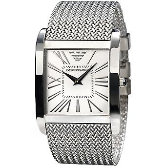 Emporio Armani Mens Watch Silver Mesh White AR2014