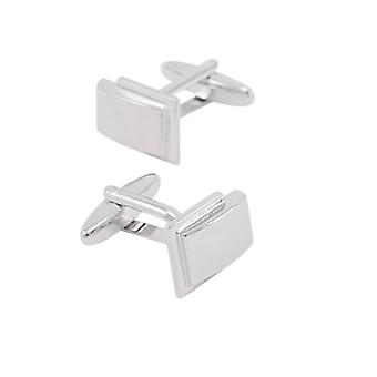 Classic Square Cufflinks Business Gift Jewelry Silver Tone Wedding Silver Stone