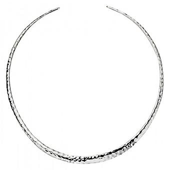 Elements Silver Hammered Neck Torque Necklace - Silver