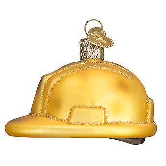 Starego świata Bożego Narodzenia budowy pracownik kask Holiday Ornament szkło