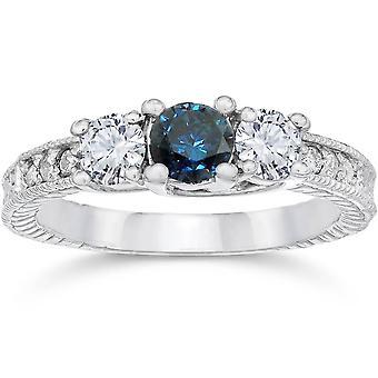 1ct Vintage Blue Diamond 3-Stein Verlobungsring 14K White Gold