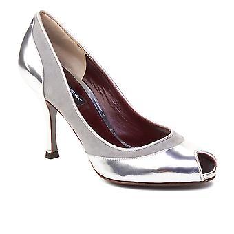 Dolce & Gabbana Women's Peep Toe Leather Pump Silver