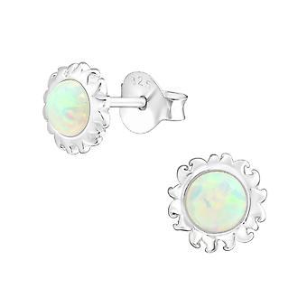 Sol - opala prata 925 esterlina e Semi preciosas orelha tachas - W36904x