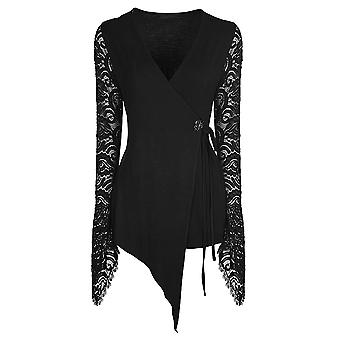 Autumn Black Flowers - Long Lace Goth Sleeve Top