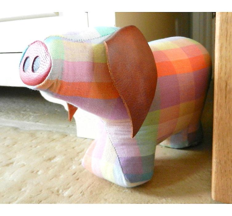 Elma Check Pig Door Banger / Doorstop by Monica Richards