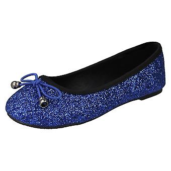 Girls Spot On Glitter Ballerinas H2488 - Blue Glitter - UK Size 11 - EU Size 29 - US Size 12