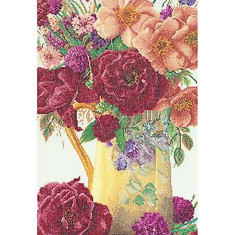Rose Bouquet On Linen Counted Cross Stitch Kit-9.5